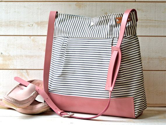 So cut but SO EXPENSIVE....WATERPROOF  Diaper bag / Messenger bag Gray  geometric nautical striped Pink Leather strap and Leather Pad