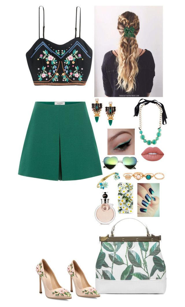 """Green floral outfit"" by ynessica ❤ liked on Polyvore featuring Valentino, Giambattista Valli, Elizabeth Cole, Lime Crime, Marni and Kate Spade"