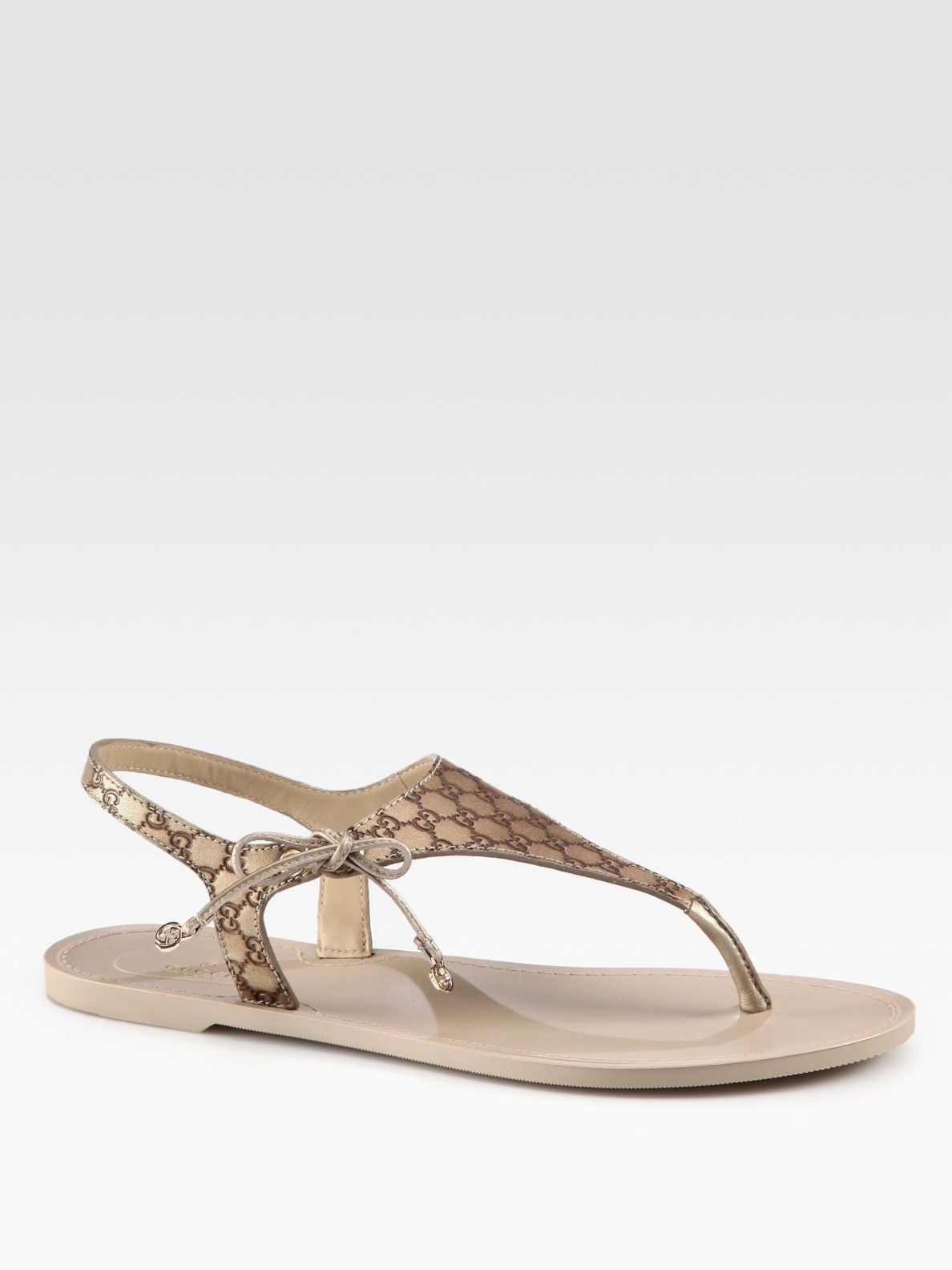 922857ec81c Gucci Katina Leather Thong Sandals in Gold (champagne)
