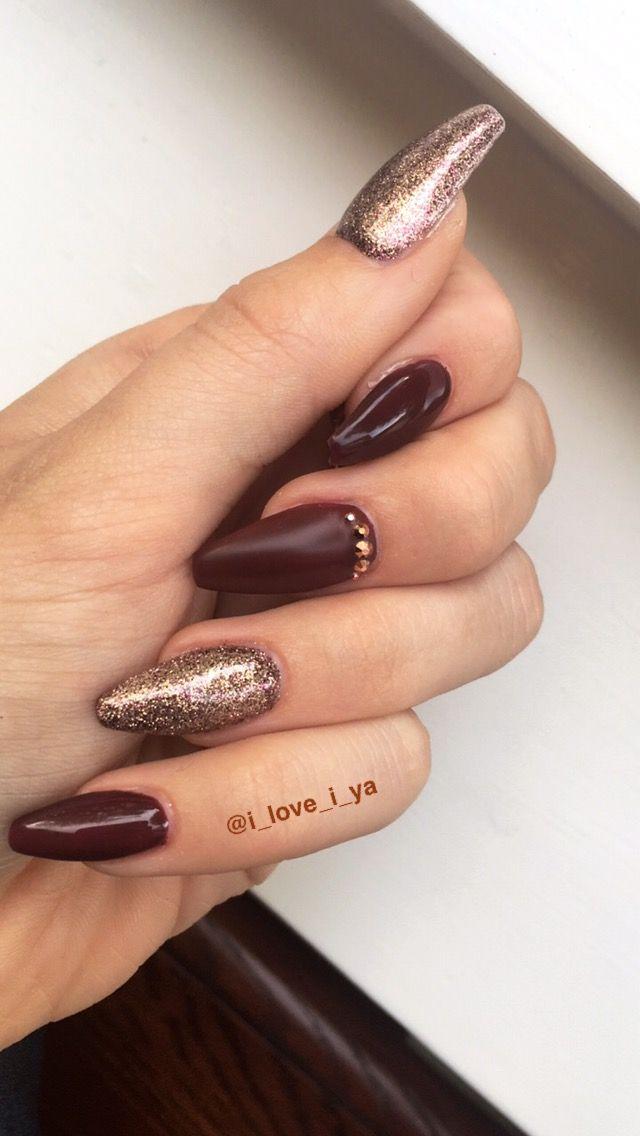 Burgundy #acrylic #autumn #nails #nailart #glitter #matte #gems ...