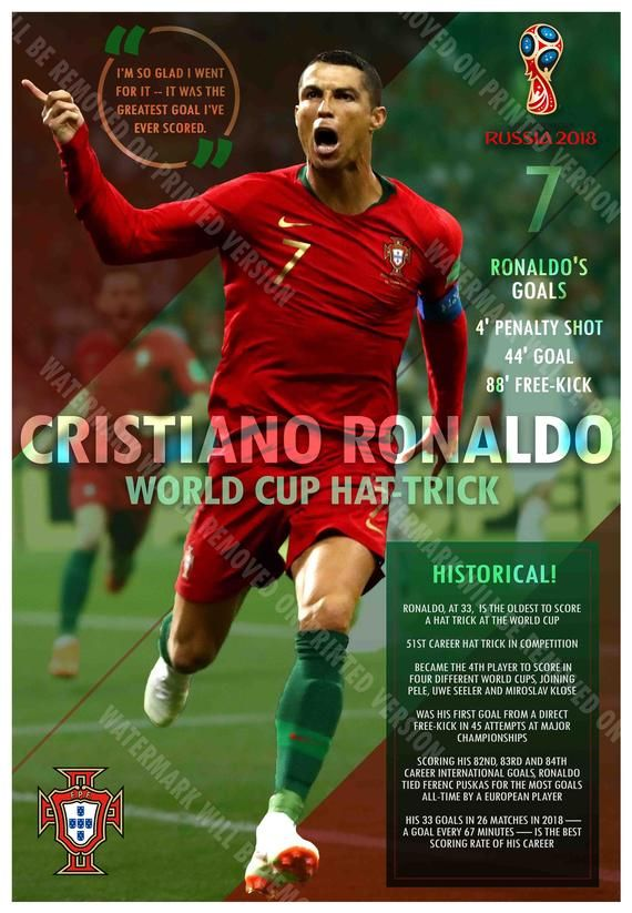 Christiano Ronaldo Has Hat Trick In 2018 World Cup Etsy In 2020 Christiano Ronaldo Ronaldo Ronaldo Goals