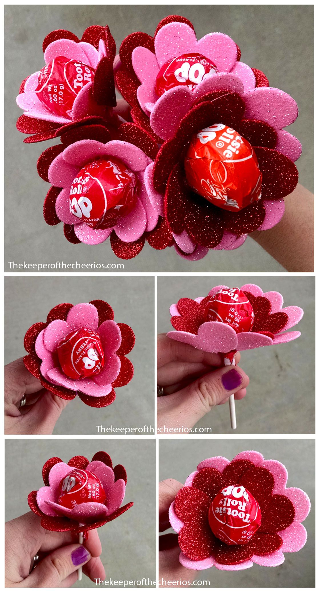 Diy Pinterest Flower Heart Valentine Suckers Valentines Day Pinterest