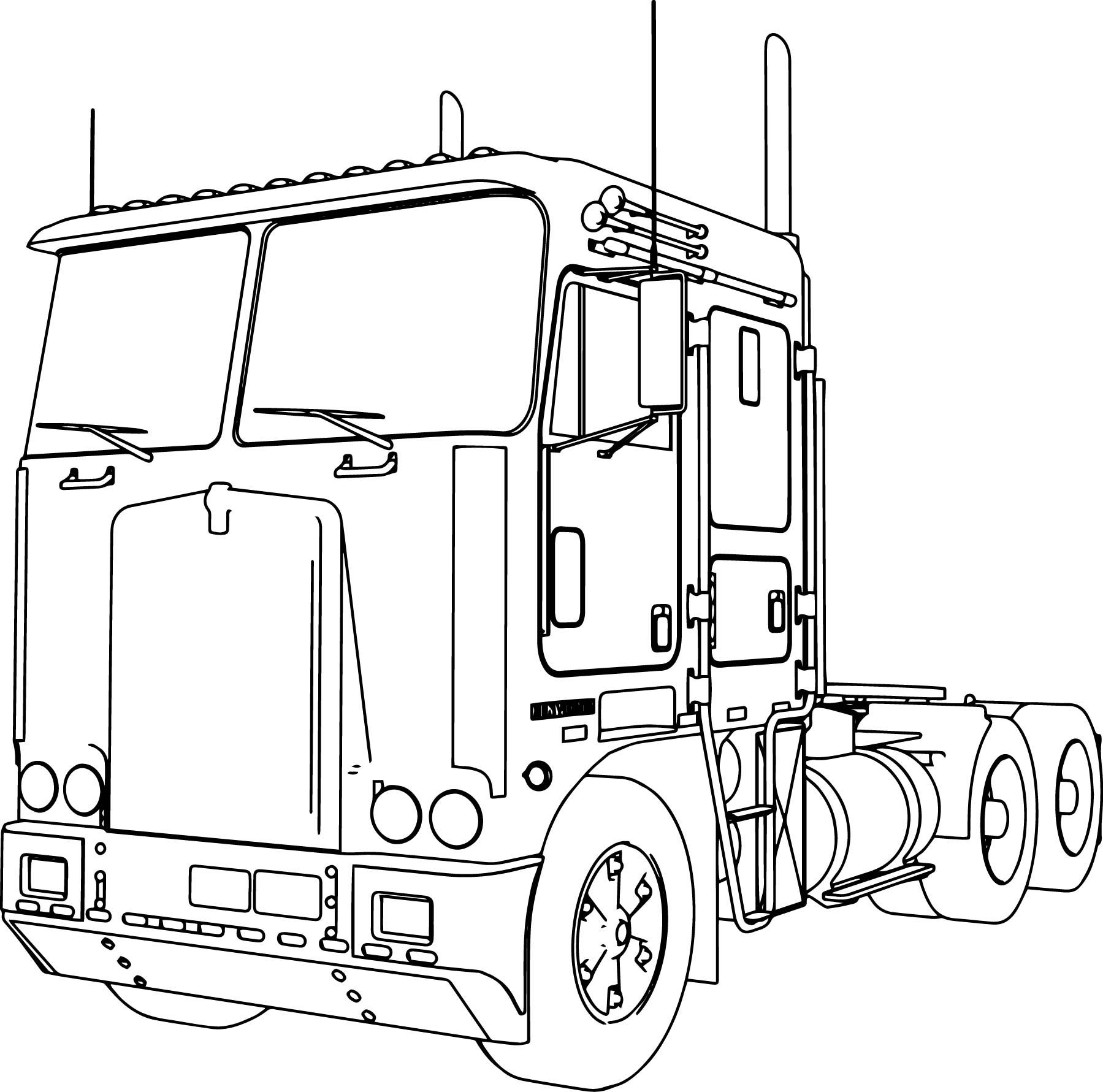 cool Kenworth K100 Long Trailer Truck Coloring Page