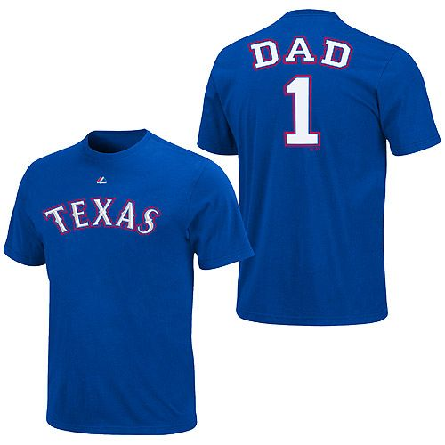 buy online 17133 648be Texas Rangers Team Dad T-Shirt by Majestic Athletic   Real ...