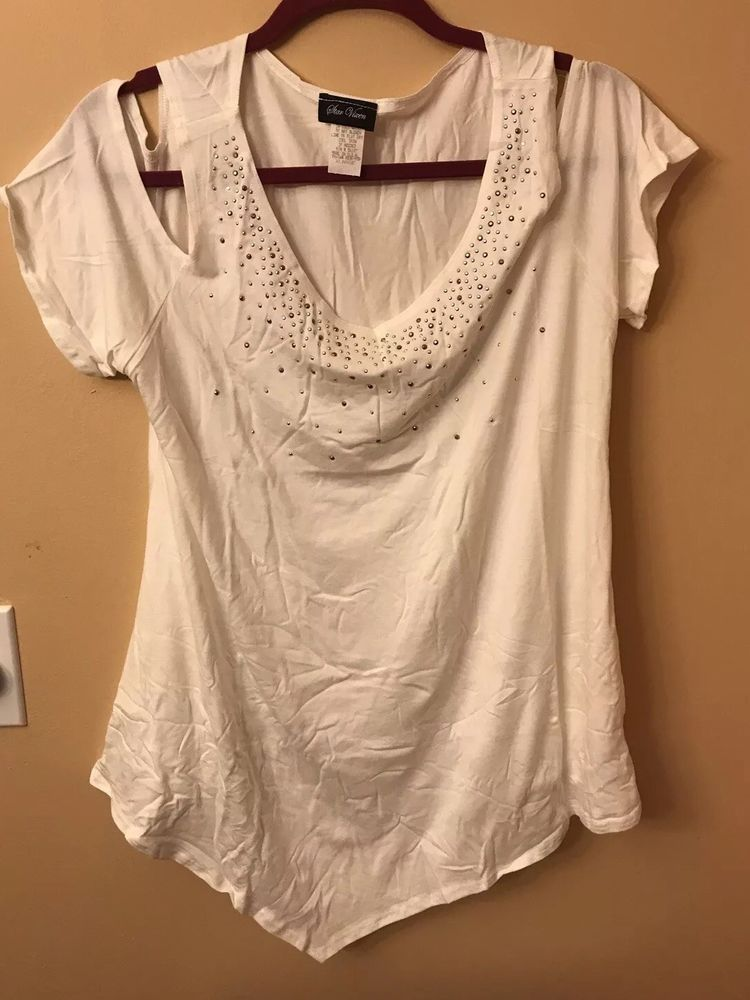 7912cf765c6f9 Star Vixen Women s Petite STR Rayon Span Sslv Cold Shoulder Top W Gld Sil  Stud  fashion  clothing  shoes  accessories  womensclothing  tops (ebay  link)