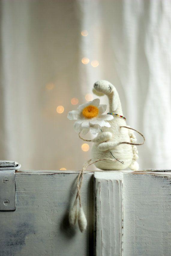 Dreamy White Sheep With A Daisy  Needle Felted by FeltArtByMariana