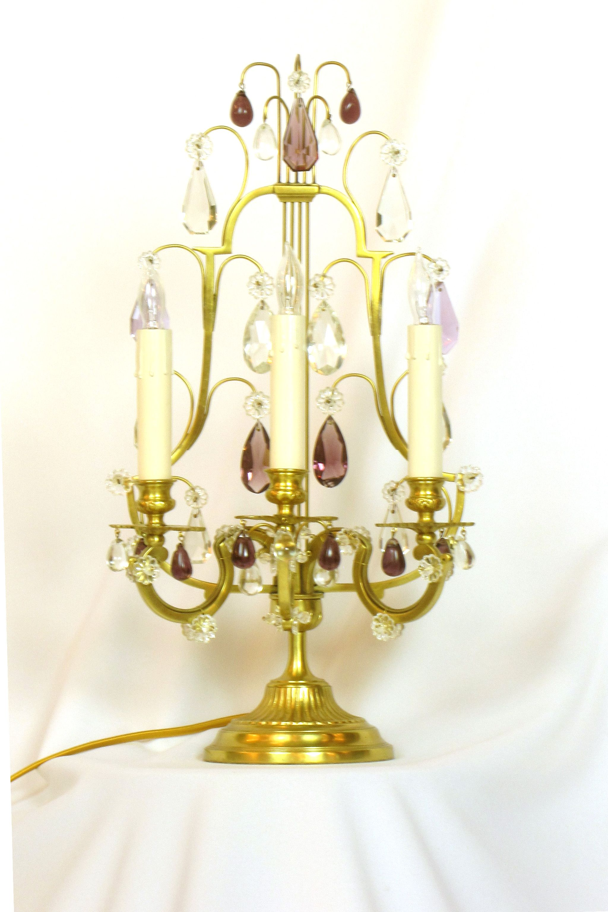 Pair of Lyre Back Amethyst Candelabra | Table Lamps | Pinterest ...
