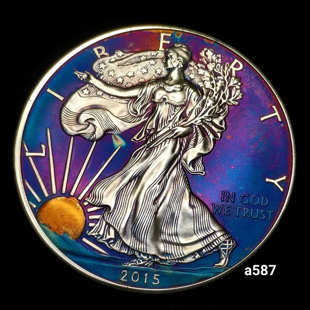 Rainbow Toned Silver American Eagle Coin 1 Troy Ounce Fine Silver High Grade Artistic Toning All Colors Formed By In 2020 Eagle Coin Silver Eagle Coins Silver Coins