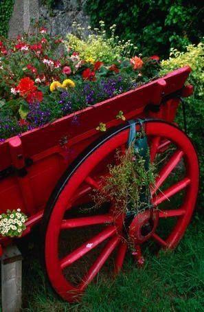 Superieur Garden Wagon Planter Home Red Flowers Garden Paint Yard Decorate Wagon  Planter