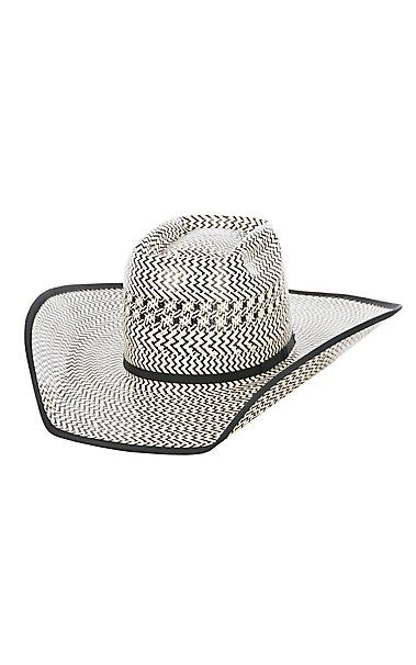 ec14b8a770d American Hat Company Black Pearl Vented Brick Crown Straw Cowboy Hat