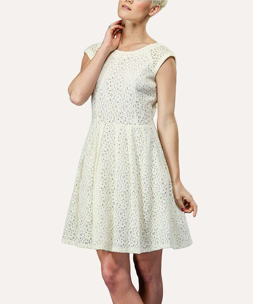 Another great find on #zulily! Amelia Cream Eyelet Cap-Sleeve Dress - Women by Amelia #zulilyfinds