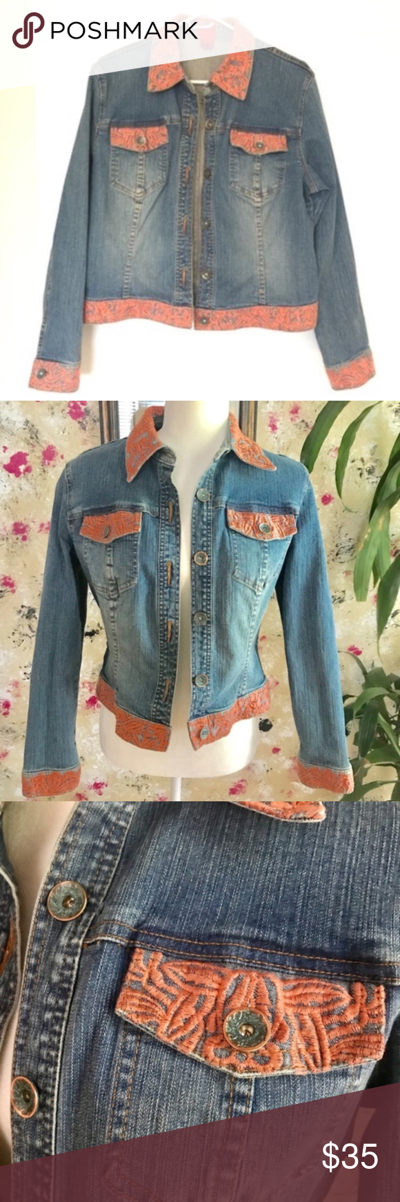 Very Vera Jean Jacket Size Small Blue Embroidery Very Vera Jean Jacket With Embroidered Details Nice Weight To The Den Versatile Denim Blue Embroidery Jackets [ 1740 x 580 Pixel ]