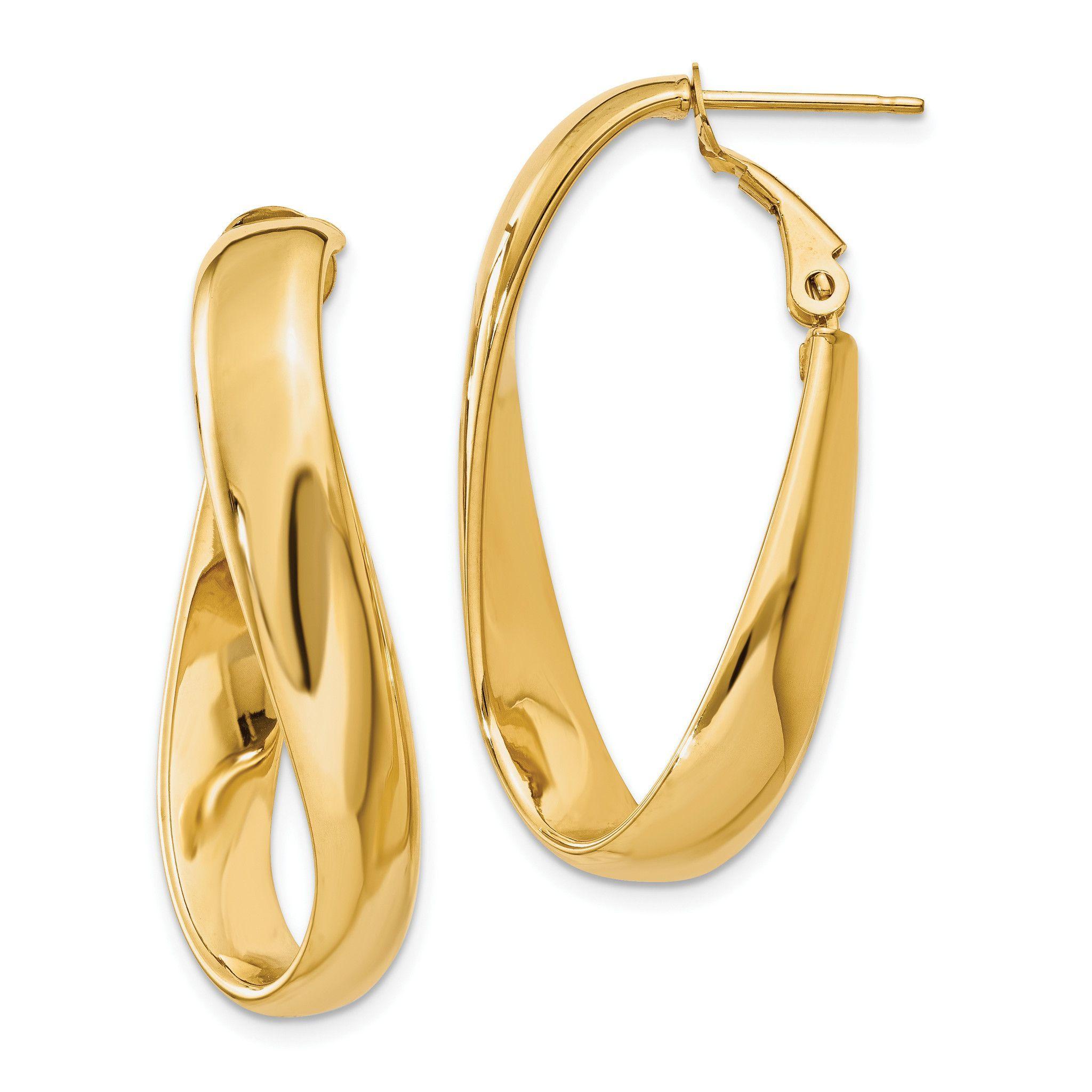 14k Twisted Oval Hoop Earrings PRE691