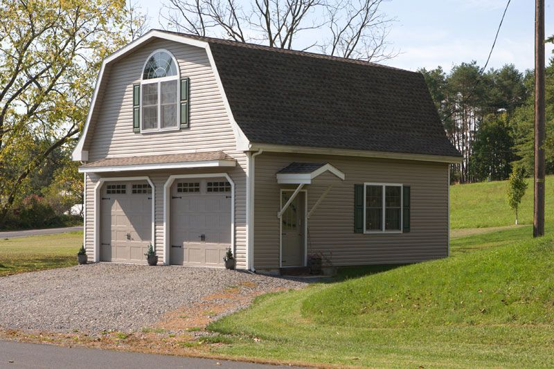 Custom 2 story garage with gambrel roof aframe cabins for Gambrel roof barn kits