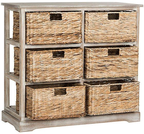 One Kings Lane Garten Basket Cabinet Antiqued White Mudroom