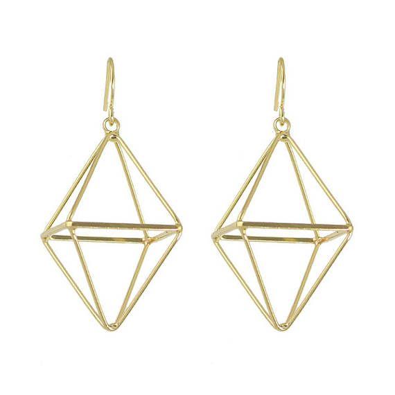 Unique 3d Diamond Shaped Four Sided Gold Geometric Statement Dangle Earrings Big Dangle Earrings Statement Drop Earrings Punk Rock Fashion