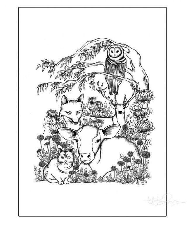 The Animals - Printed illustration via Hanna Karlzon Shop.