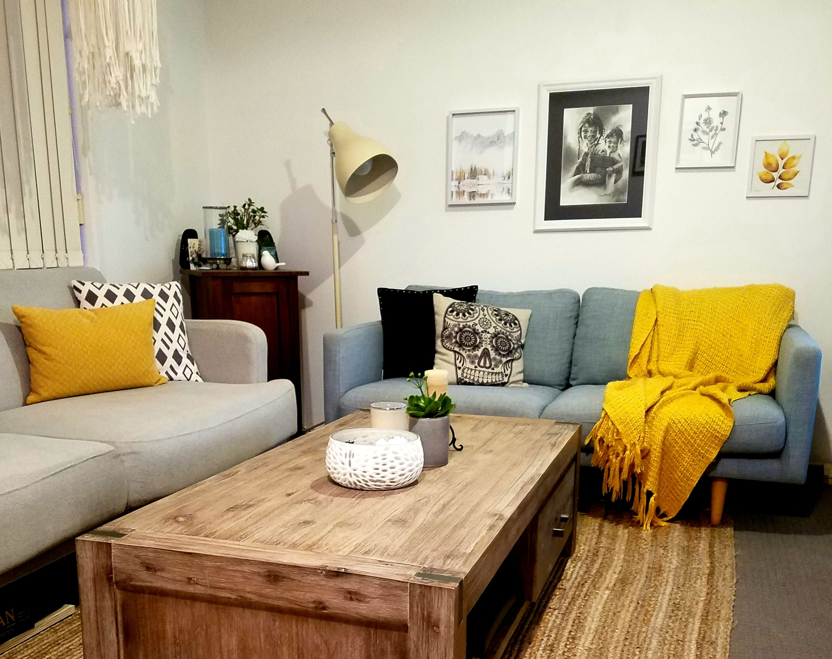 Mustard And Duck Egg Blue Living Room In 2019 Blue