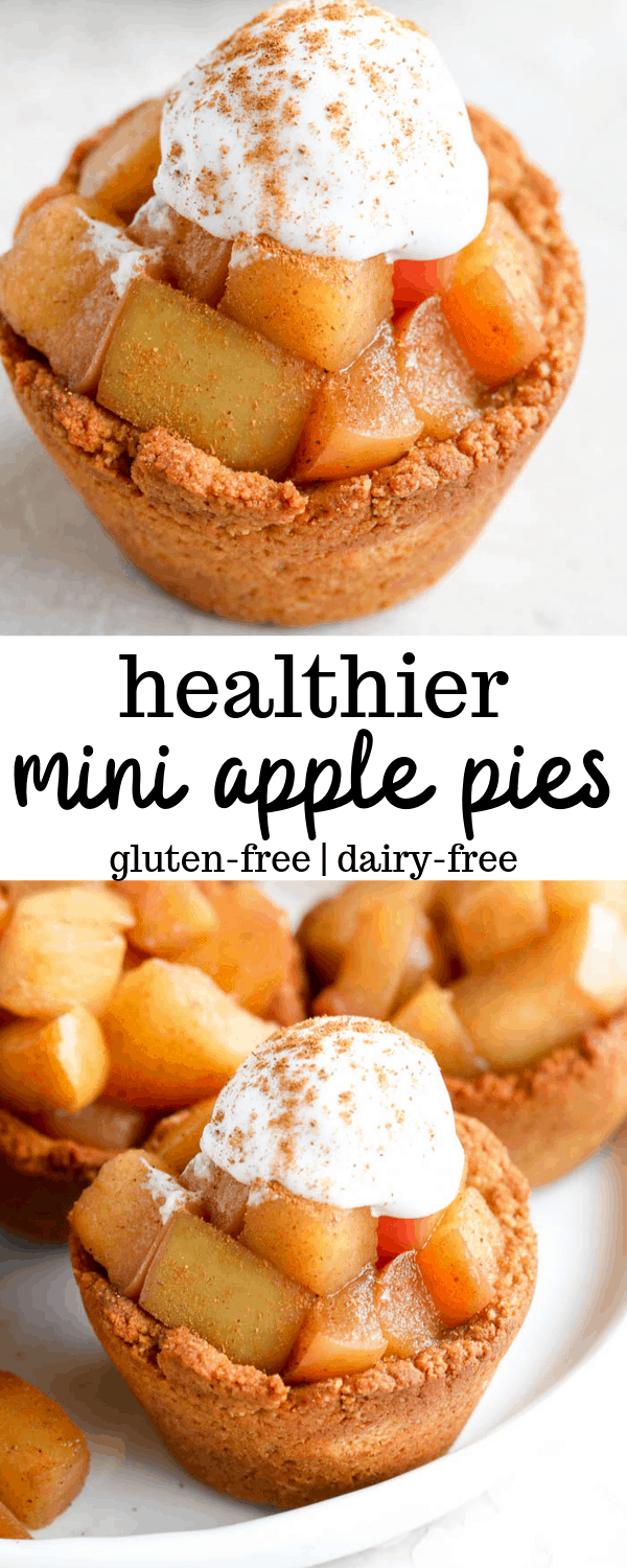 This healthy mini apple pie recipe is a deliciously easy dessert made with a homemade cookie crust. These mini pies are made with almond flour, making them both gluten-free and low carb! #applepie #healthypie #glutenfreedessert #falldessert #healthyapplepie #minidessert