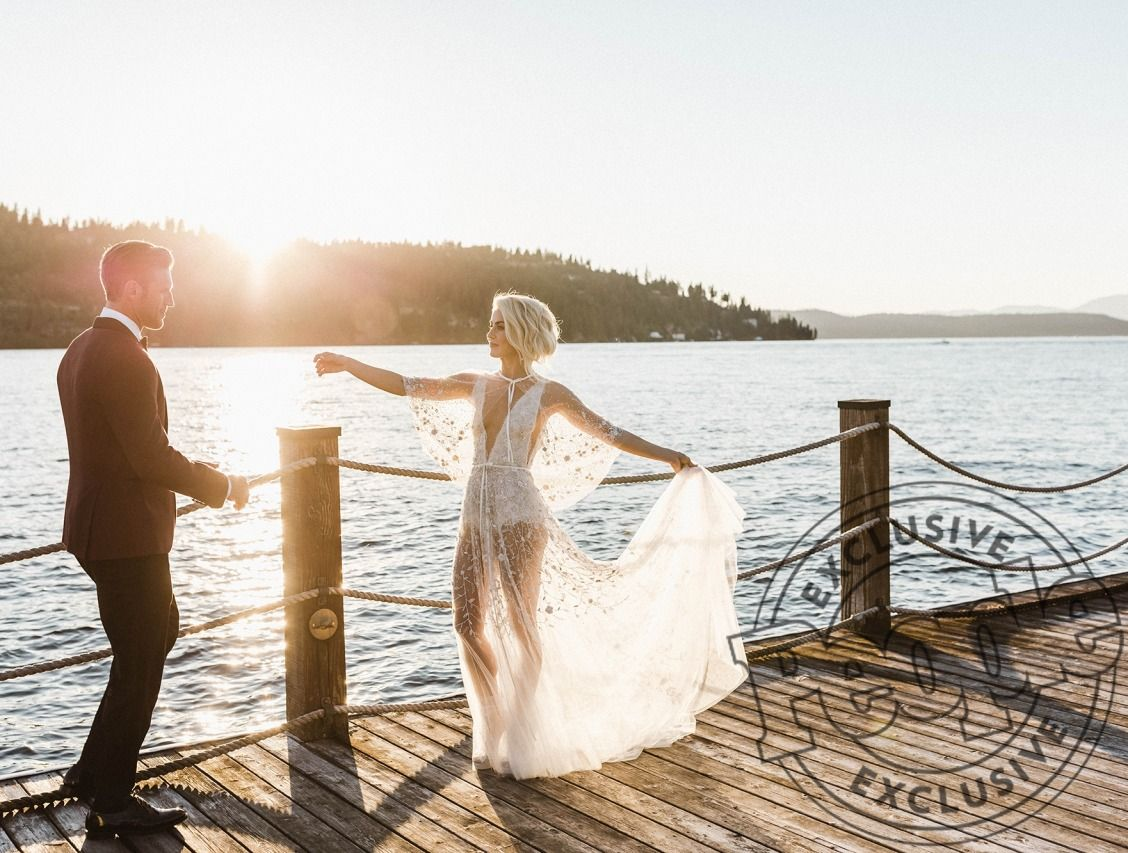All The Details On Julianne Hough S Two Wedding Dresses And Why She Ended Up On The Dance Floor In Just A Bodysuit Second Wedding Dresses Wedding Reception Dress Celebrity Weddings