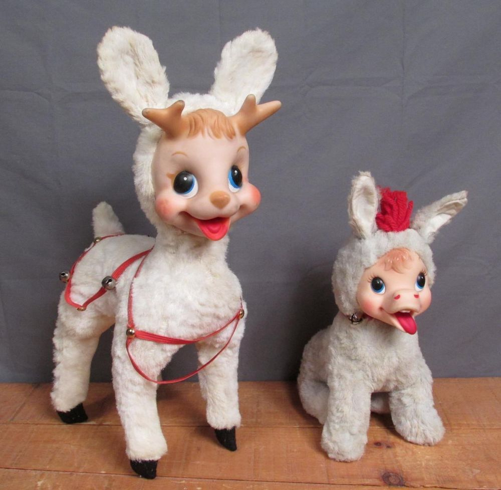Disney Cindy Toddler Doll H15: Vintage Pair Rushton Toy Rubber Face Stuffed Animal Plush
