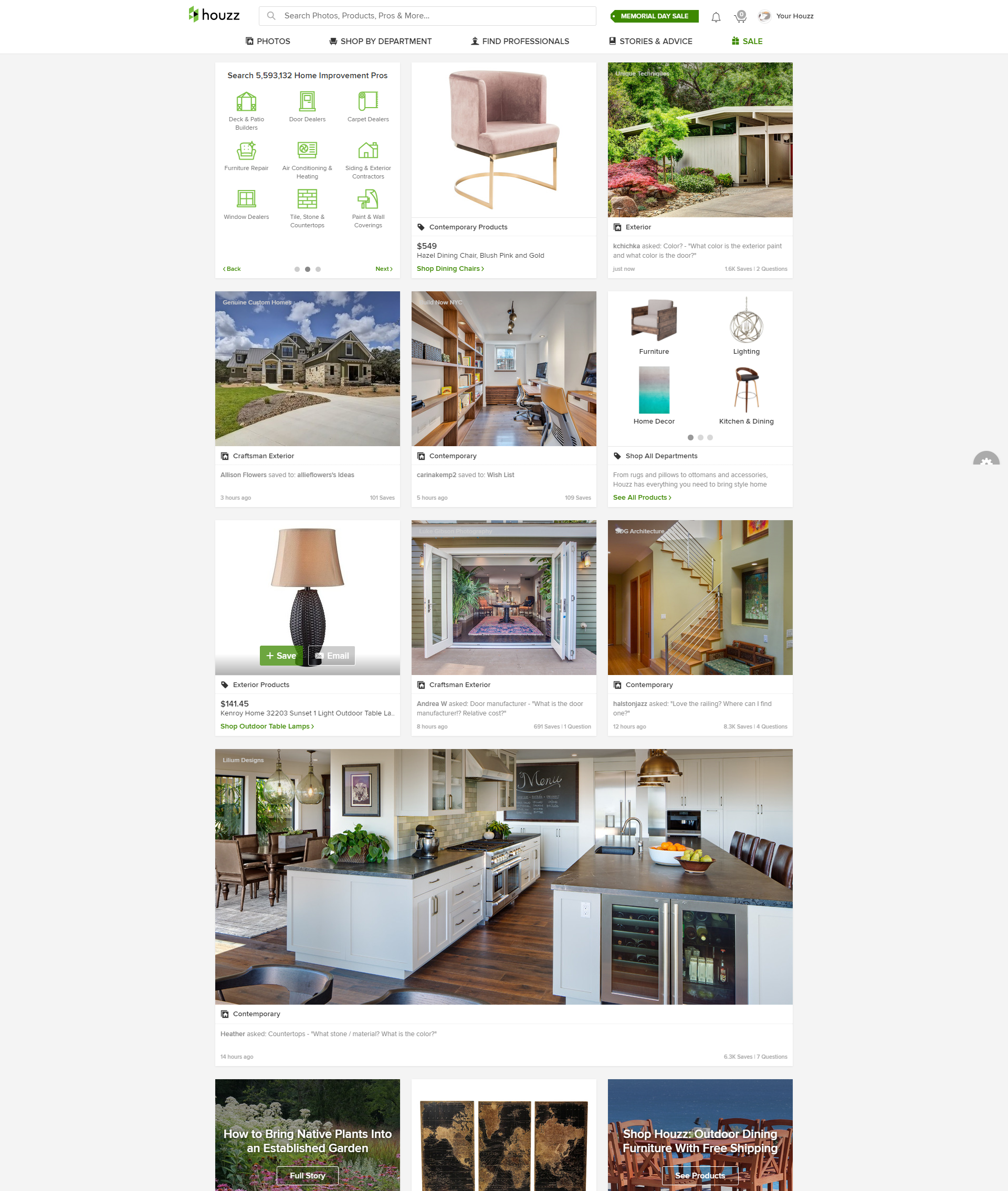 Houzz Website Homepage Is An Inspiring Example For Furniture Web Stores