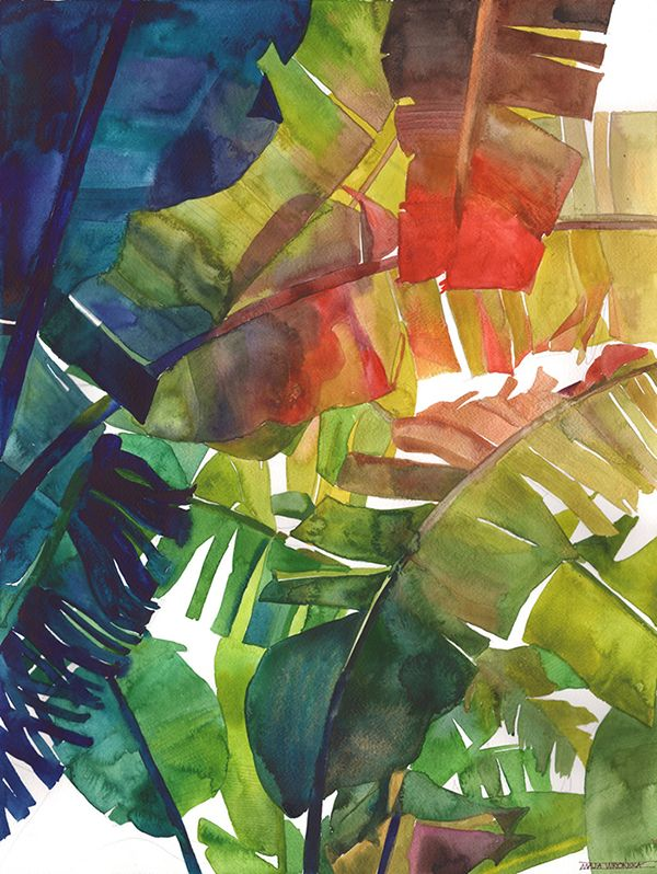 Watercolor Jungle Tropical Painting Tropical Art Watercolor Art