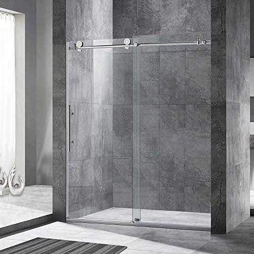Frameless Sliding Shower Door 56 60 In Width 76 Hight 3 8 10 Mm Clear Tempered Glass Brushed N In 2020 Shower Doors Sliding Shower Door Frameless Sliding Shower Doors