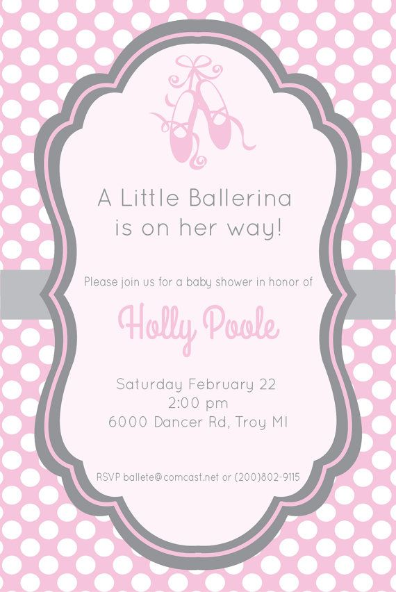 Gray And Pink Ballerina Baby Shower Invitation