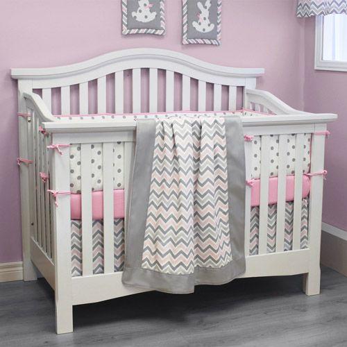 Pink And Gray Chevron Bedding With White Crib Nursery