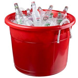 Continental 8119RD 19 Gallon Red Tub with Rope Handles
