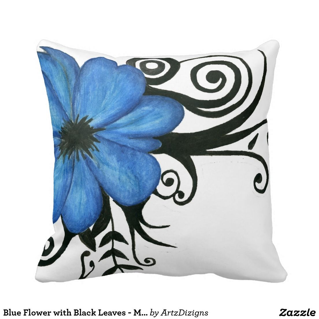 Blue Flower With Black Leaves Mojo Pillow Zazzle Gifts