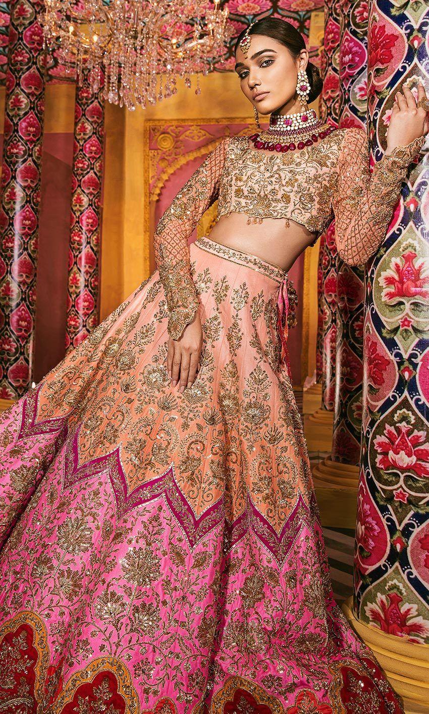 Indian Ethnic Embellished Brocade Orange Peach Lehenga for Wedding Bridesmaid Dress