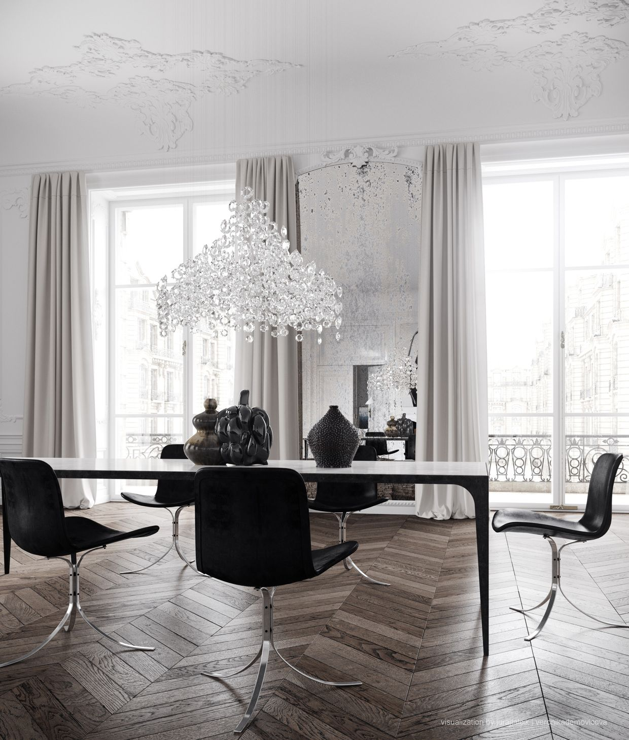 Parisian Apartmentdining Roomopen Spacechevron Wood Floors Delectable Modern Chic Dining Room Inspiration Design