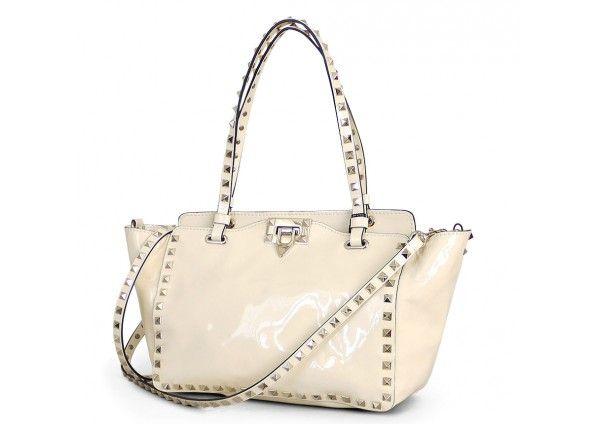 Vintage Valentino Garavani Ivory Patent Leather Rockstud 2way Tote Bag