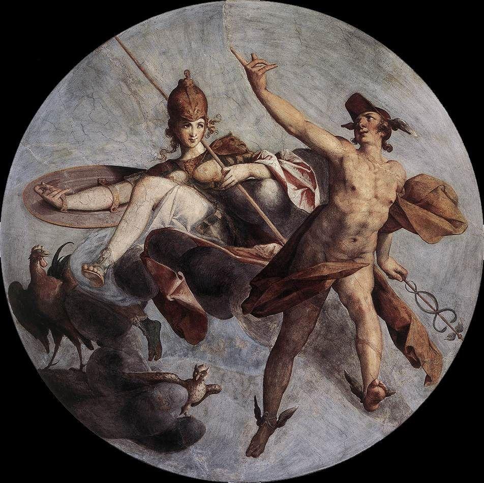 Bartholomeus Spranger, Hermes and Athena, c. 1585 Fresco Castle, Prague