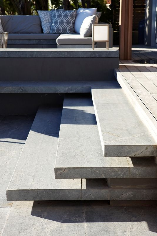 Deck To Concrete Steps To Lawn.