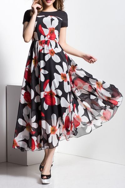 Borme Black Sun Flower Print Maxi Dress  cded7da99