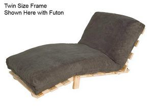 Twin Size Compact Futon Set Solid Wood Armless Frame With Cotton Foam Mattress