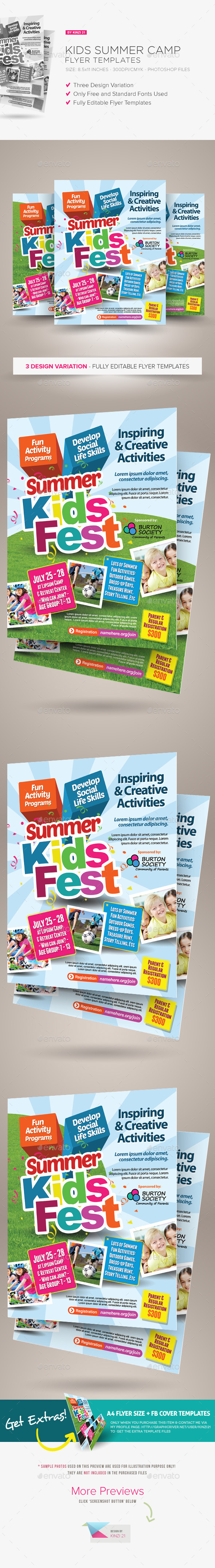 Kids Summer Camp Flyers  Boys Camp Print Templates And Template