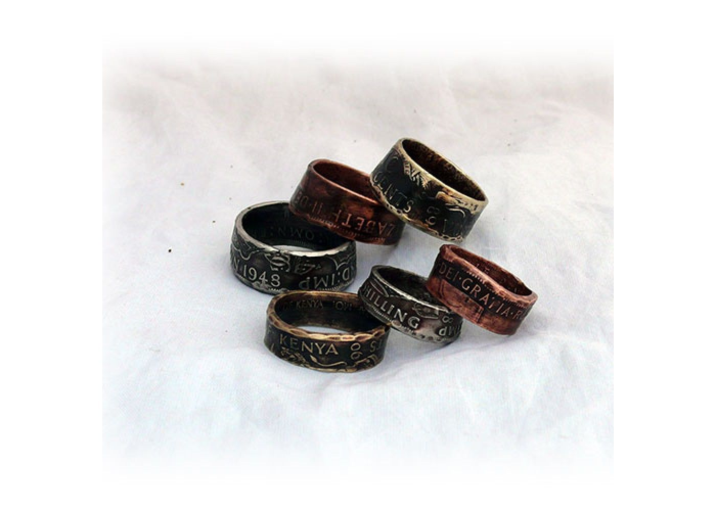 Handmade and recycled coin rings