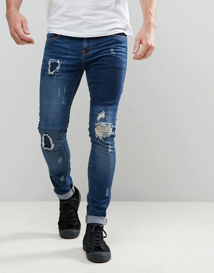 e7a6d9858b1 Always Rare Dexter Super Skinny Jeans Dark Wash Patchwork Rips ...