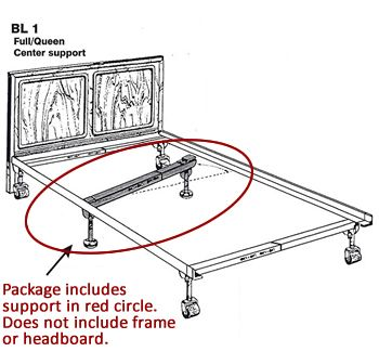 Support For Metal Side Rails Fits Full And Queen Size Metal