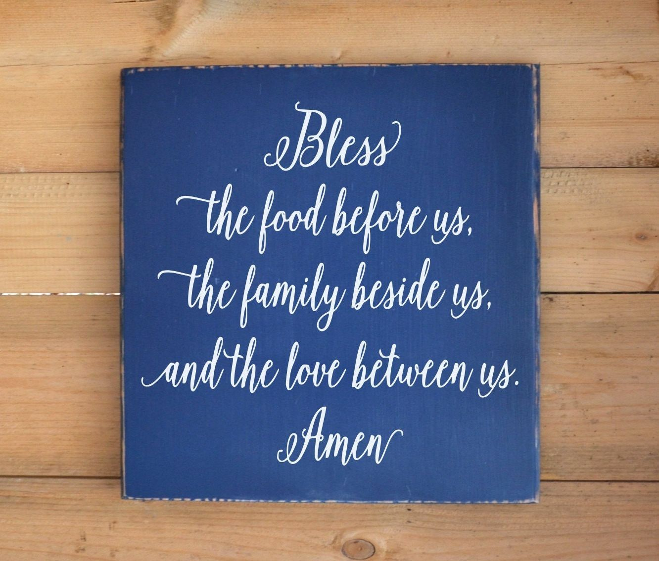 Love Plaques Quotes Bless The Food Kitchen Decor Wood Sign Hand Painted Blessings