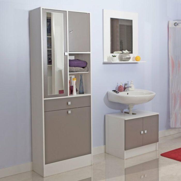 grau weiß Wandschrank für Badezimmer Salle de bain Pinterest - badezimmer grau wei