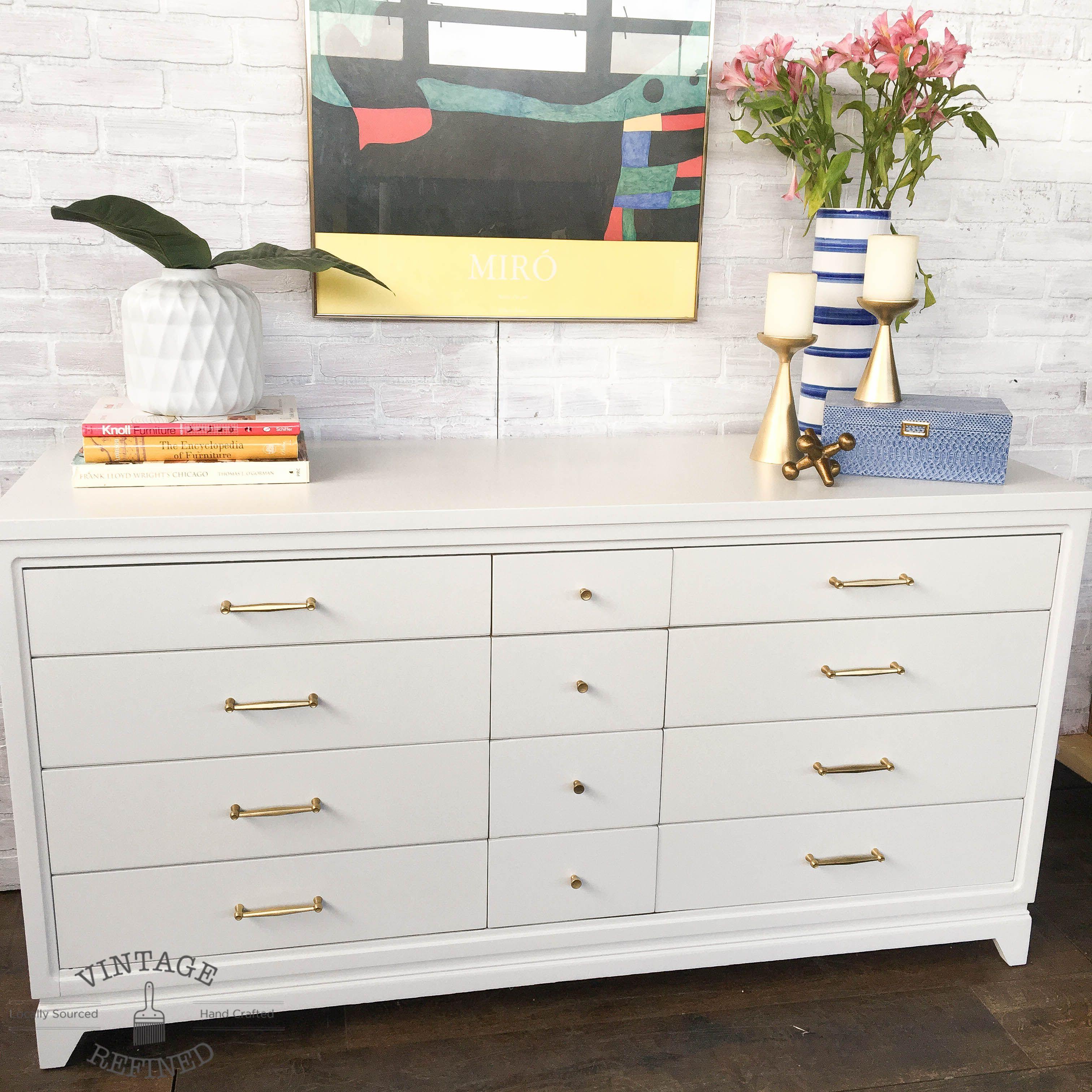 White Modern Dresser With Gold Hardware Modern Dresser Furniture Decor