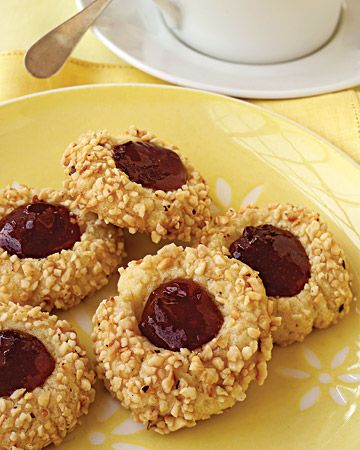 Hazelnut Thumbprints w/ raspberry jam... only I made them with walnuts & fig preserves, which obviously rocked.
