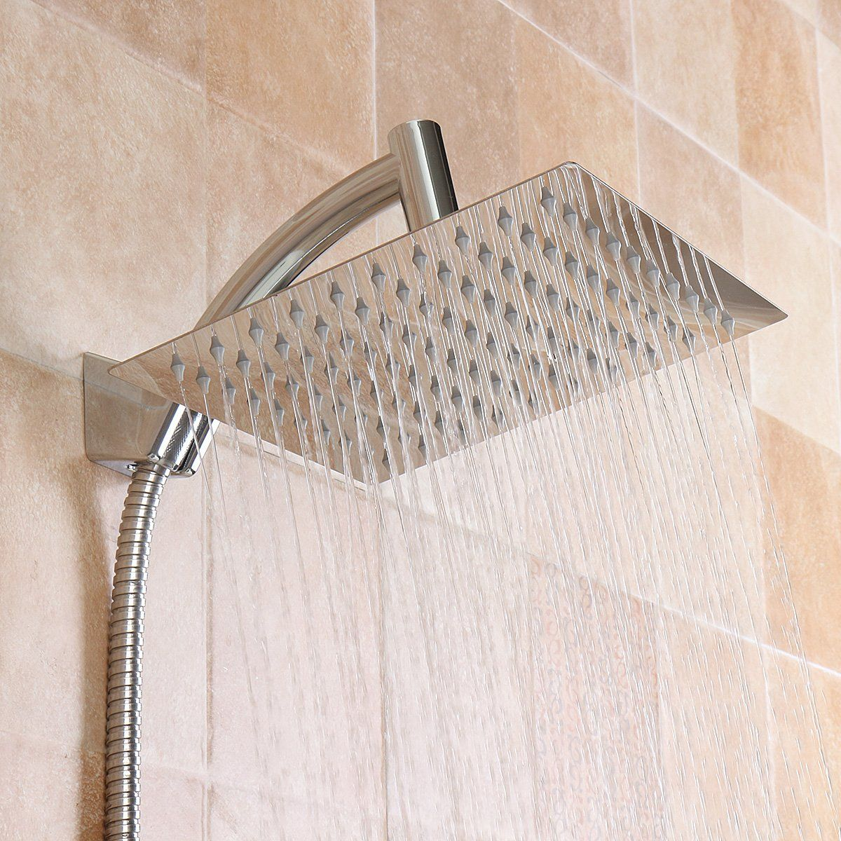 Square 8 Inch Rainfall Shower Head Extension With Shower Arm Hose Kit Overhead In 2020 Shower Head Extension Rainfall Shower Head Shower Heads