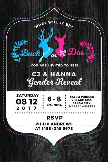 Buck Or Doe Gender Reveal Invitation Template