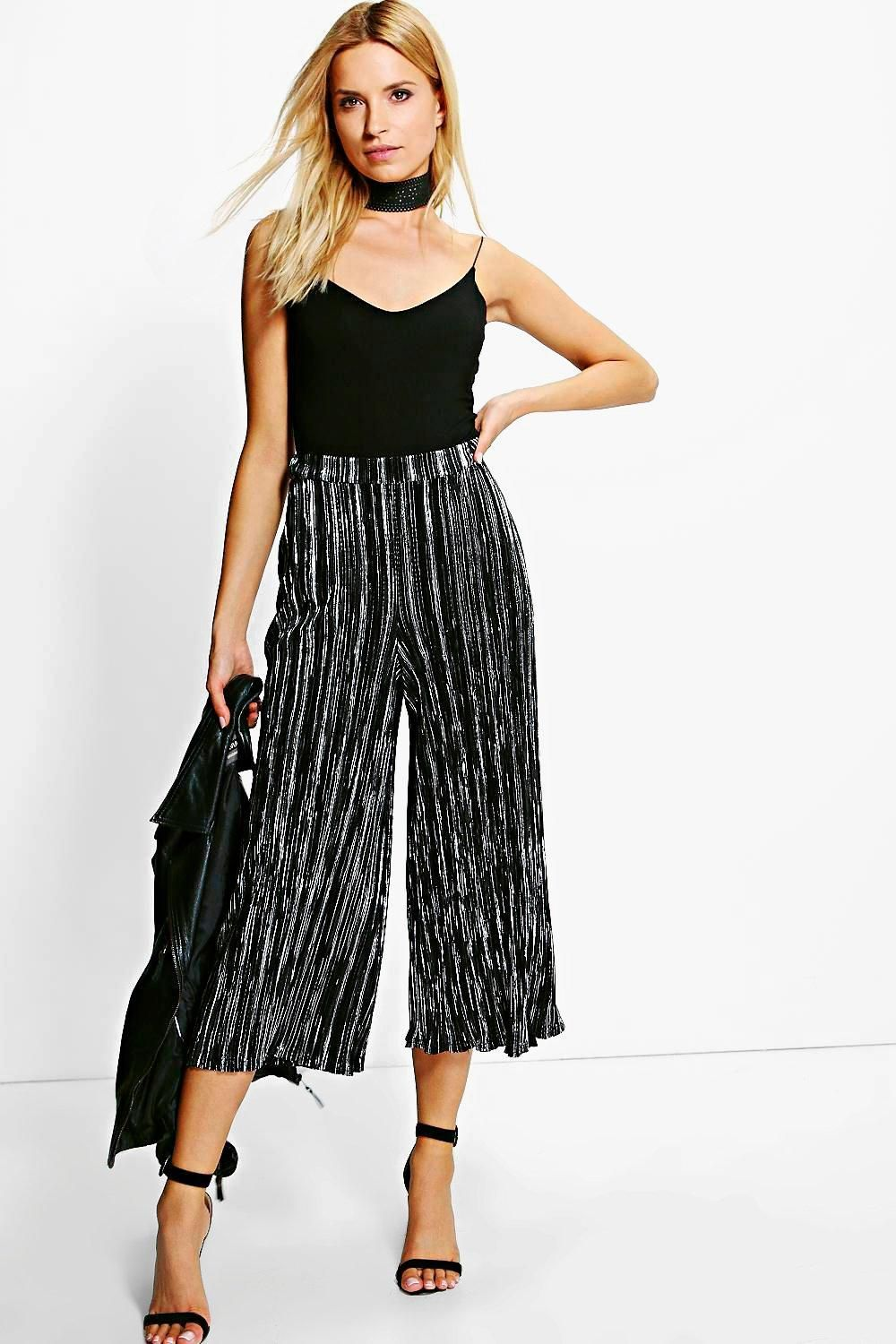 107e59566c4b8 Ruby Metallic Pleated Culottes